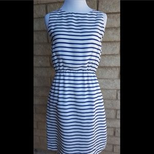 J.Crew White/Navy Blue Striped Printed Sundress